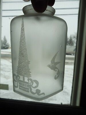 Antique VICTORIAN VINTAGE frosted hanging shade birds trees