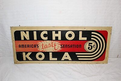 "Vintage c.1940 Nichol Kola 5c Soda Pop Gas Station 28"" Embossed Metal Sign"