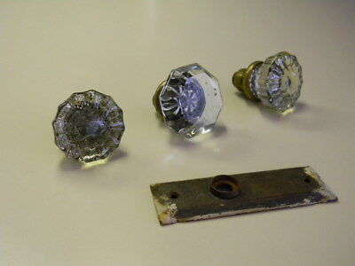 2 Vintage 12 Point & 1 Vintage 8 Point Crystal Glass & Brass Door Knobs