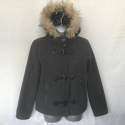 Gap Kids Girls Grey Wool Blend Hooded Duffle Jacket - Age 13-14 Years