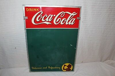 "Rare Vintage 1942 Coca Cola Restaurant Menu Soda Pop 27"" Embossed Metal Sign"