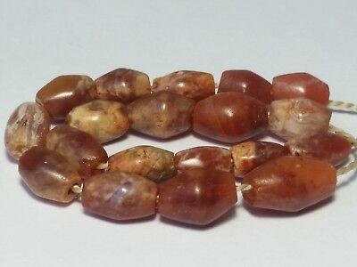 19 Ancient Rare Carnelian Patinized Agate Bicone Beads