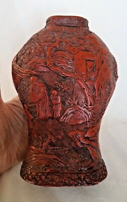 Original 19Th Century Chinese Cinnabar Lacquer Vase - Chenghua Seal Mark