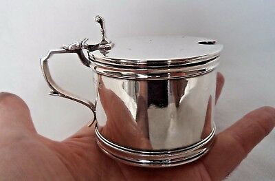 Very Heavy London 1934 Sterling / Solid Silver Mustard Pot - 210 Grams