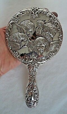 Superb Vintage 1985 Cherub Sterling / Solid Silver Mounted Hand Mirror