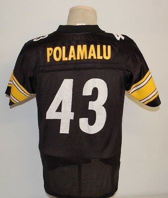 33b4c5d67 Reebok Pittsburgh Steelers Troy Polamalu  43 Jersey Youth Large (14-16)  Black