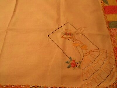Antique Crinoline Lady Embroidered French Knot Flowers Tablecloth cottage chic