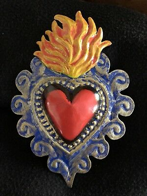 Sacred Heart Mexican Tin Heart  - Folk Art Made In Mexico- Milagros