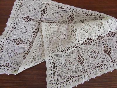 Gorgeous Vintage Ecru Hand Crocheted Large Table Centrepiece - 58 x 36 cm