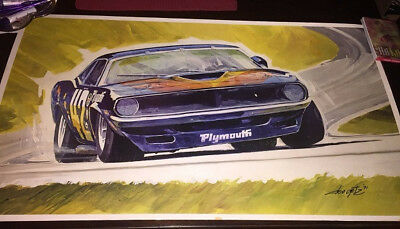 Don Getz Plymouth Barracuda Cuda # 42 1971 - RARE - Goodyear Promo LITHO FRAMED