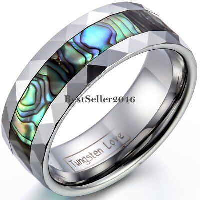 Fashion Men's  8mm Tungsten Carbide Wedding Band Ring Abalone Shell Size 7-14