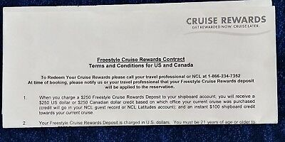 NCL NORWEGIAN CRUISE LINE $250 CREDIT VOUCHER CERTIFICATE Apply 10-18 SAIL AFTER
