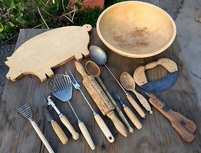14 Vintage Antique Wooden Farm Country Kitchen Items & Wooden Dough Bowl Rustic