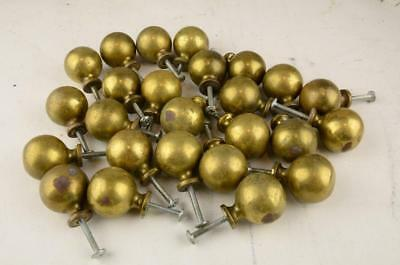 """Vintage Lot Of 25 Solid Brass 1.25"""" Ball Knobs Pulls Cabinet Hardware"""