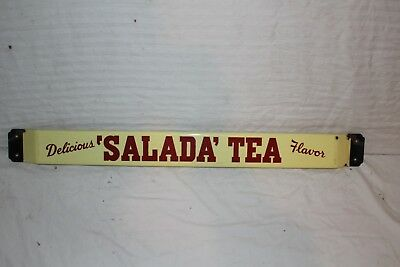"Vintage 1950's Salada Tea Soda Pop 32"" Porcelain Metal Door Push Bar Sign"
