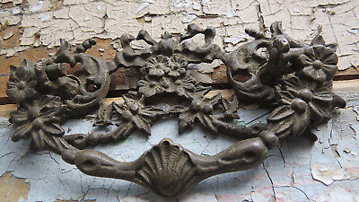 1900's ORNATE Brass Bronze Floral Flower Ribbon Bow Shell Furniture Drawer Pull