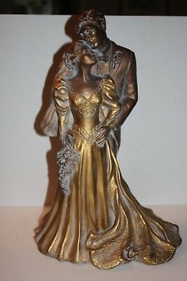 """Gorgeous Bronze Statue of Bride and Groom 15.5"""" Tall"""