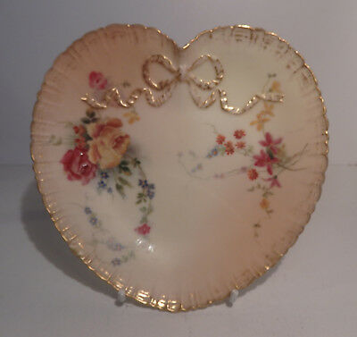 Royal Worcester Blush Ivory Heart Shape Dish with Bow Roses Floral 1895