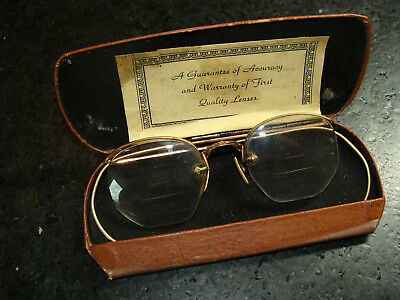 Vintage Pair Eye Glasses Case Paper Trifocals Gold Wire Frame Spectacles Texas