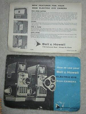 Bell & Howell Electric Eye 8mm Camera owners manual booklet 1958 1959 393E user