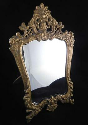 Vintage Victorian Ornate Heavy Brass Framed Mirror or Picture Frame on Stand