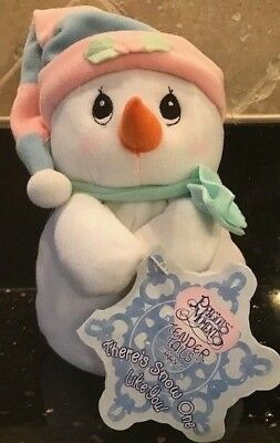 2000 Precious Moments Tender Tails Plush Snowman 7 In - Nwt
