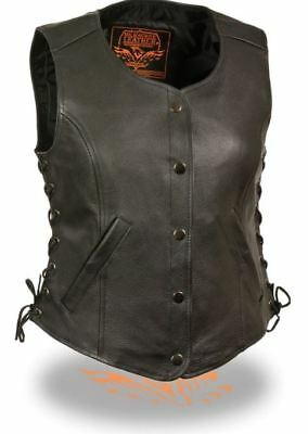 Milwaukee Womens Snap Front Side Lace Vest Black