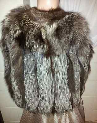 UNIQUE CRYSTAL SILVER FOX Fur Cape Wrap Vtg Long Custom Stole Jacket Coat M/L