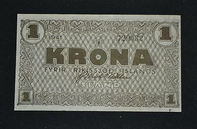 West Point Coins ~ Iceland 1941 Emergency Currency WWII #22f 1 Krona