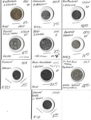 1700's & 1800's German - Ten Coin Lot - See Scans     (S-191)