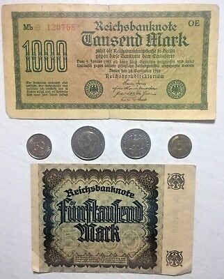 Rare & Old WW2 Germany War Eagle Coin Note Vintage Collection Lot
