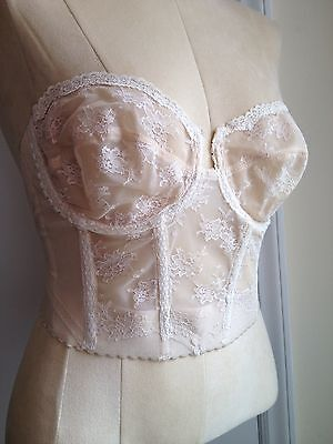 VTG 36C Cream Lace Bra Bustier Corset Pinup Backless Young Smoothie