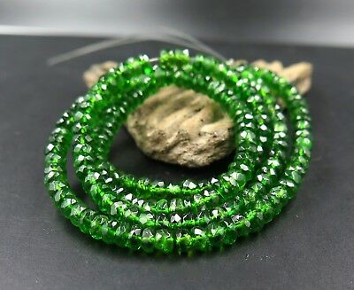 202  AAAAA GREEN RARE GENUINE RUSSIAN CHROME DIOPSIDE FACETED BEADS 52.15cts
