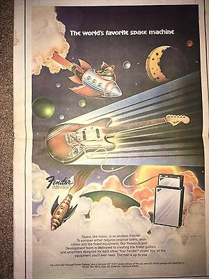Vintage 1973 Fender Guitars Amps Advertisement Pinup Poster Space Machine Space