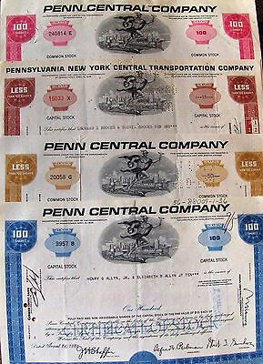 4 different. USA stock certificate  The Penn Central Company