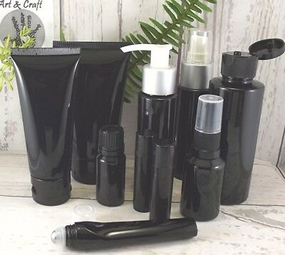 Black Cosmetic Container Empty Bottles Packaging Pump Set Lotion Cream Toner Kit