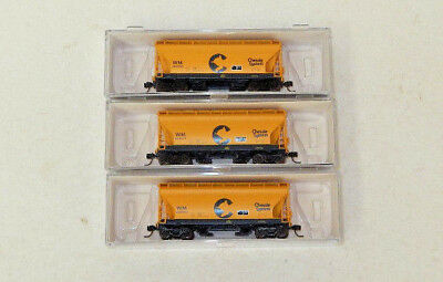 3 x Athearn N Scale Chessie System Twin Bay Covered Hoppers