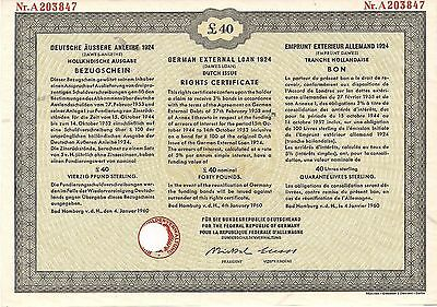 German Government Young Loan Rights Certificate (1930) Dutch Issue 40 BP