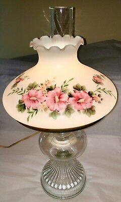 """Victorian """"Gone With The Wind"""" Hurricane Parlor Lamp. Pink Floral"""