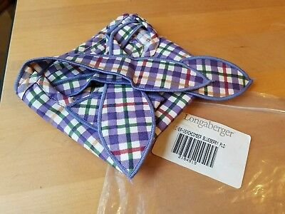 Longaberger Beachcomber basket liner in Blueberry Plaid ~NEW  2184919