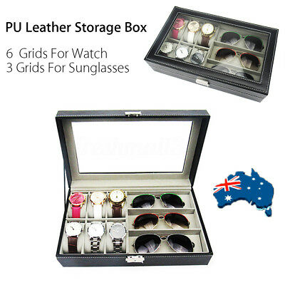 PU Leather 3 Grid Sunglasses + 6 Cell Watches Display Storage Box Case Organizer