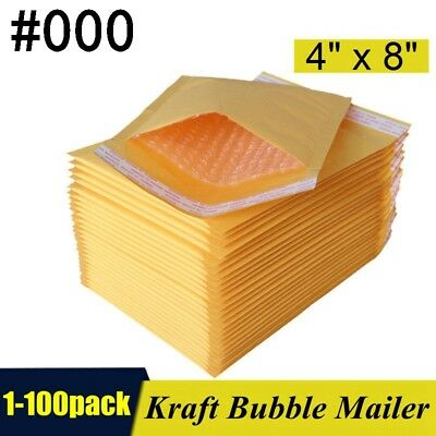 "#000, 4""x8"" Kraft Self Seal Bubble Mailer Padded Envelopes,  4x8 inch 1-100 pack"