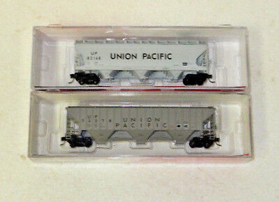2 x InterMountain N Scale Union Pacific 3 Bay Covered Hoppers