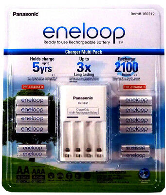2018 Panasonic Eneloop Recharge Battery Charger 8 AA 4 AAA Batteries NiMH 13 pcs