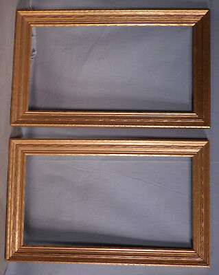 Pair Antique Arts Crafts BRIGHT Bronze Metal Leaf Picture Frames GOLD 8.5x15.5