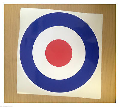 Raf White Red White & Blue - Decal Printed Sticker Choice Of Sizes Mod Target