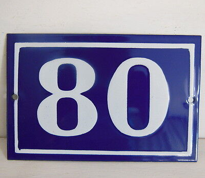 OLD FRENCH HOUSE NUMBER SIGN door gate PLATE PLAQUE Enamel steel metal 80 Blue