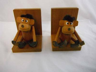 Vintage Adorable Wood Hanging Removable Monkey Bookend and Toys Kitsch