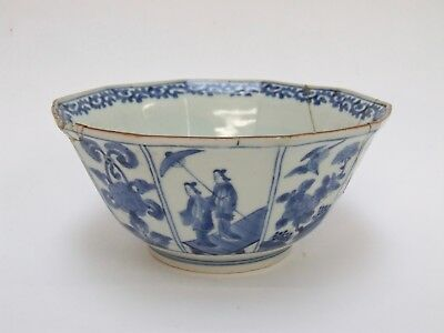ANTIQUE JAPANESE ARITA BLUE AND WHITE 10 SIDED FACETED PORCELAIN BOWL  c.1730