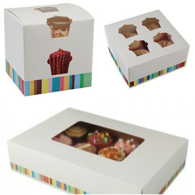 UK Made Windowed Cupcake Boxes for 1, 4, 12 Cup Cakes / Muffin Box- Top Quality!